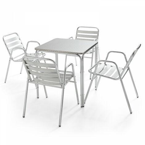 Table de jardin carrée en aluminium 4 places Nothing Hill - Gris