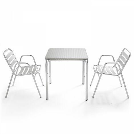 Table de jardin carrée en aluminium et 2 fauteuils Nothing Hill - Gris