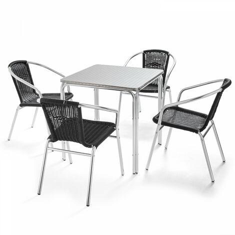 Table de jardin carrée en aluminium et 4 chaises - Noir - 103033