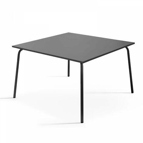Table de jardin carrée en métal - Gris - 102332