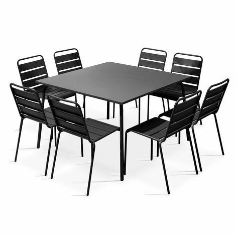 Table de jardin carrée en métal et 8 chaises - Gris - 105025