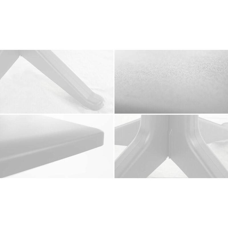 Table de jardin carrée en plastique - Blanc - 104375