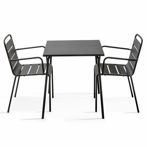 Table de jardin carrée et 2 fauteuils empilables en acier ...