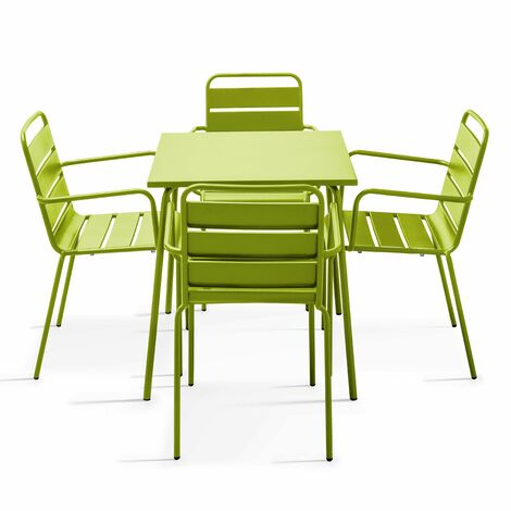 Table de jardin carrée et 4 fauteuils empilables en acier thermolaqué