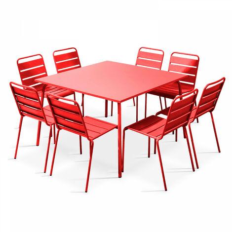 Table de jardin carrée et 8 fauteuils en métal - Rouge - 103643