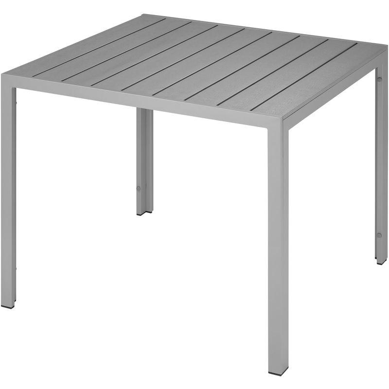 Table de Jardin d\'Extérieur Carrée Design en Aluminium 90 cm x 90 cm x 74,5  cm Gris