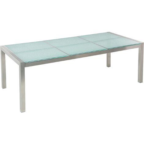 Table de jardin design avec plateau en verre de sécurité