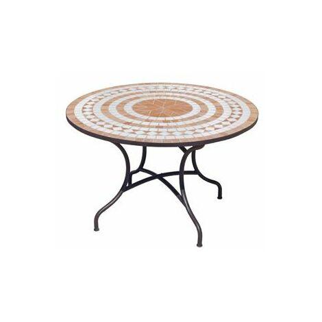 Table De Jardin DOGLI en ACIER ET MOSAIQUE STRUCTURE ACIER PLATEAU MOSAIQUE