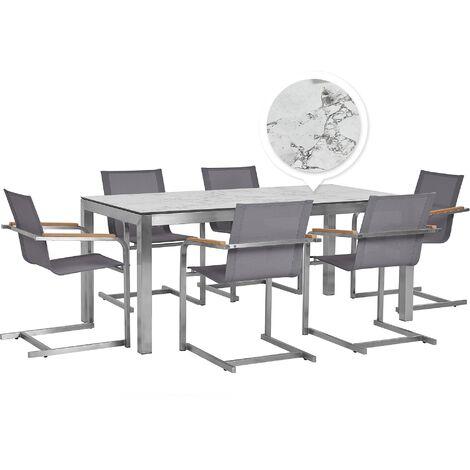 Table de jardin effet béton 180 cm et 6 chaises grises GROSSETO / COSOLETO