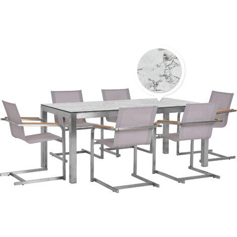 Table de jardin effet marbre 180 cm et 6 chaises beiges GROSSETO / COSOLETO