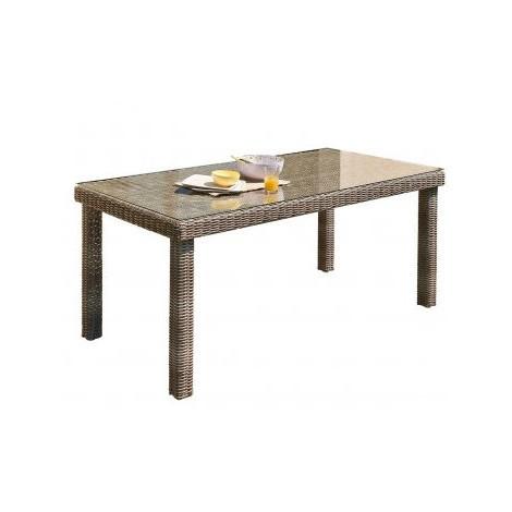Table de jardin Elégance résine tressée plateau en verre en transparent 180  x 90 x 76.5 cm