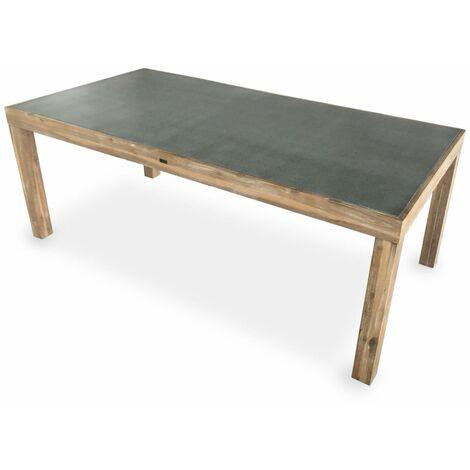 Table de jardin en acacia massif et plateau effet béton – Sumba 200cm – 8 places, intérieur/extérieur
