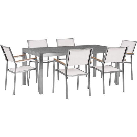 Table de jardin en acier inox et 6 chaises en textile