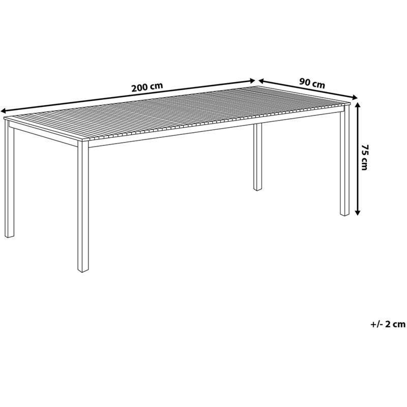 Table de jardin en acier inox et plateau teck 200 cm VIAREGGIO