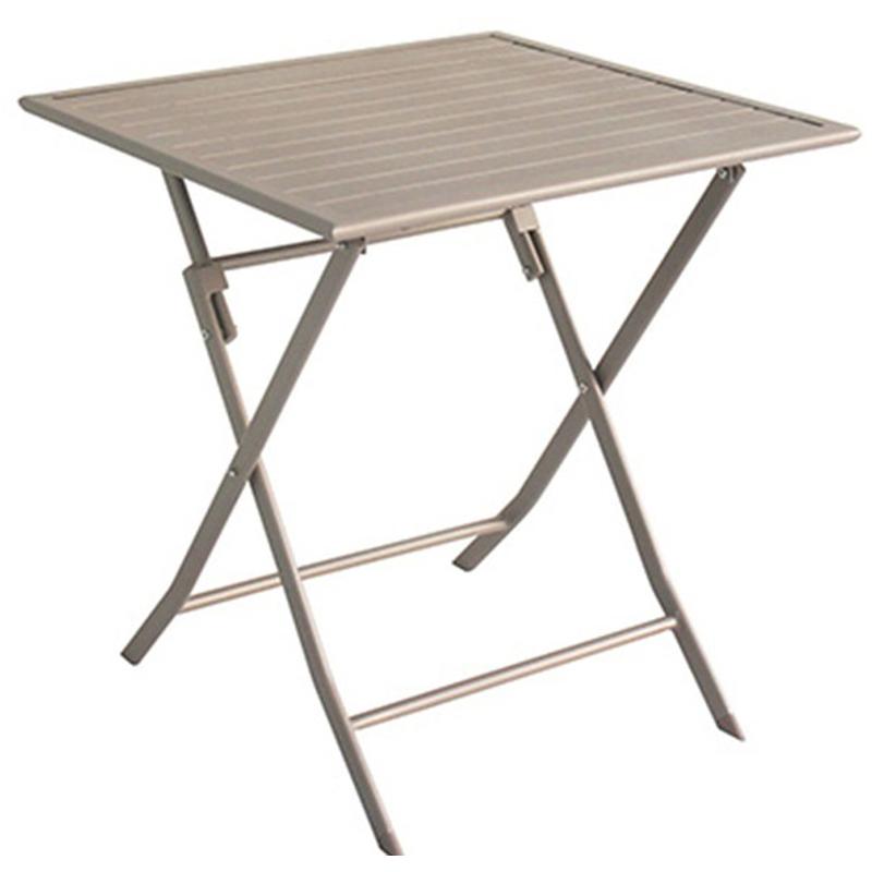 Pegane - Table de jardin en aluminium carré coloris taupe mat - Dim : 70 X 70 X 72cm