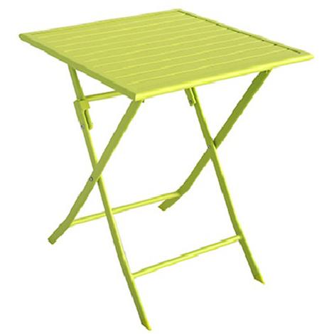 Table de jardin en aluminium carré coloris Vert anis mat - Dim : 70 X 70 X  72 cm -PEGANE-