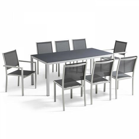 Table de jardin en aluminium et verre 8 places - Gris - 103094