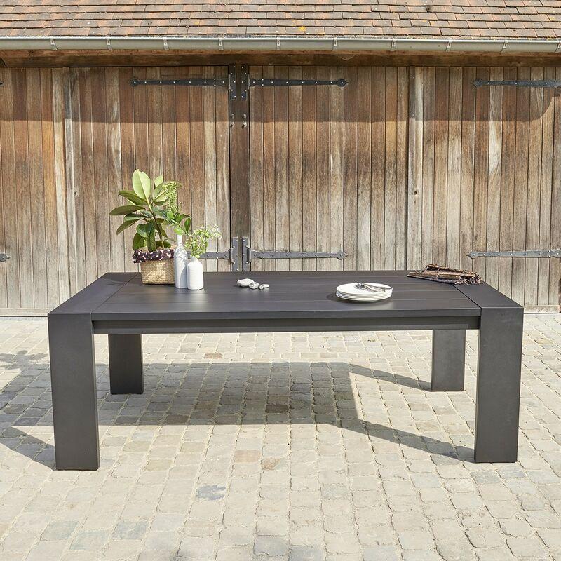 Bois Dessus Bois Dessous - Table de jardin en aluminium noir 6 places - Noir
