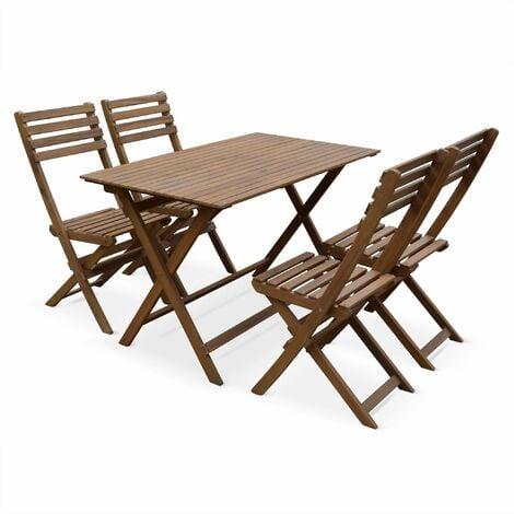 Table de jardin en bois 120x70cm - Madrid - Table bistrot pliante rectangulaire en acacia avec 4 chaises pliables