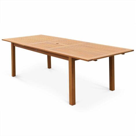 Table de jardin en bois Almeria 180-240cm rectangulaire avec allonge eucalyptus FSC