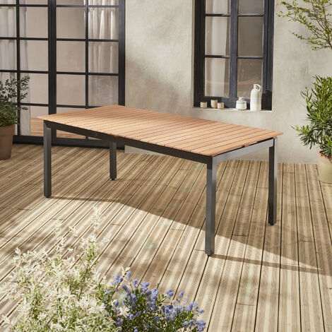 Table de jardin en bois aluminium extensible 200/250cm avec rallonge - Sevilla