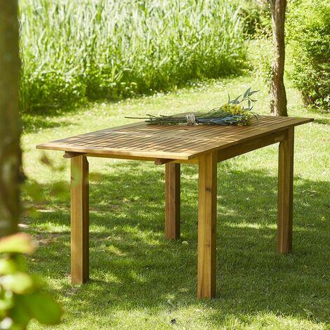 Table de jardin en bois d\'acacia FSC avec rallonge 6 à 8 places -