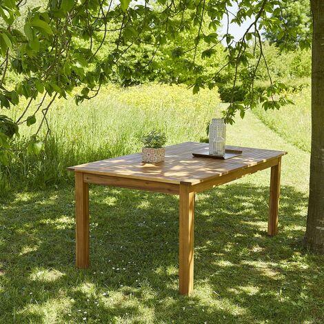 Table de jardin en bois d\'acacia FSC avec rallonge 8 à 10 places -
