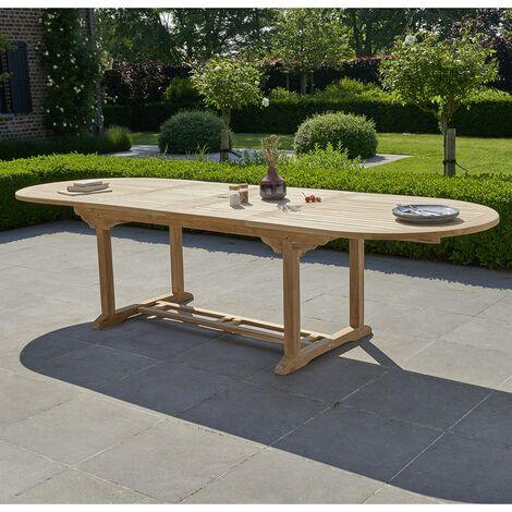 Table de jardin en bois de teck avec rallonge 10 à 12 places