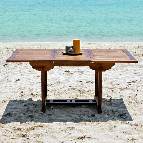 Table de jardin en bois de teck avec rallonge 6 à 8 places -