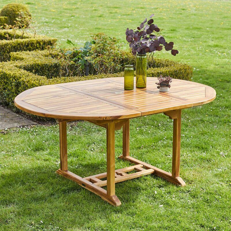 Table de jardin extensible en teck huilé 6 à 8 places - Marron