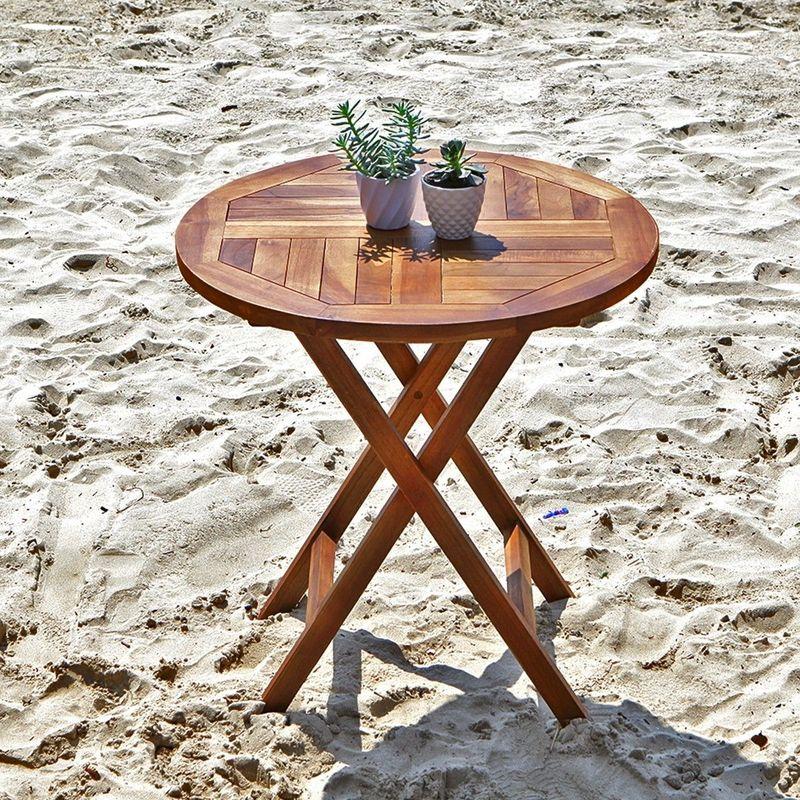 Table de jardin en bois de teck ronde pliante