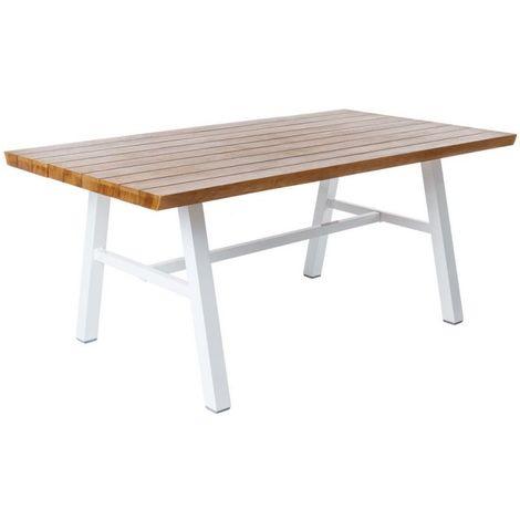 Table de jardin en bois et aluminium blanc SEIA - L 180 X l 100 X H 75