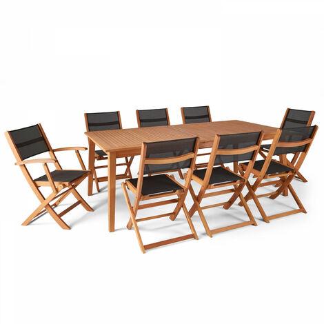 Table de jardin en bois extensible 2 fauteuils et 6 chaises 200-250cm