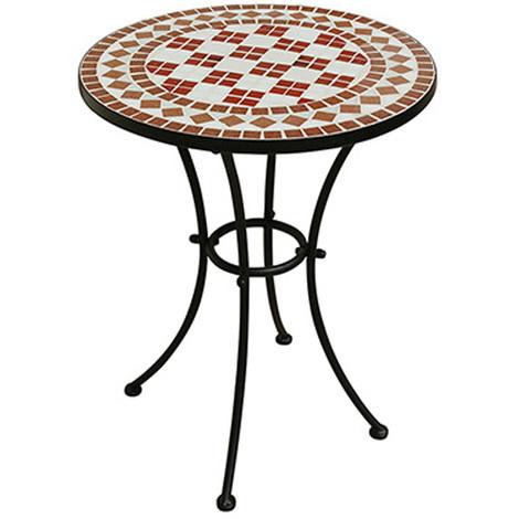 Table de jardin en fer époxy coloris noir avec mosaique - Dim : H 72 x Ø 55  cm