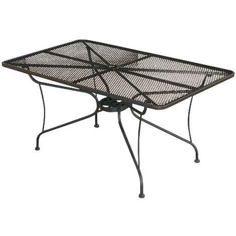 Table de jardin en fer forgé avec plateau griagé coloris noir - Dim : H 72  x L 150 x P 90 cm