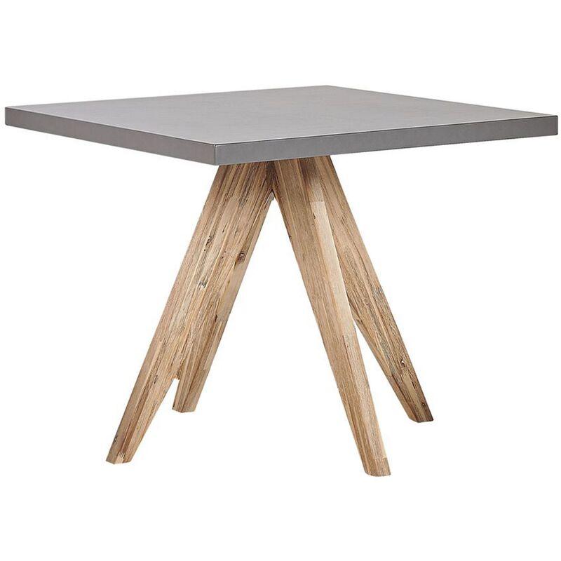 Beliani - Table de jardin en fibre-ciment gris et bois 90 x 90 cm OLBIA
