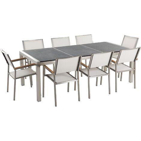 Table de jardin en granit et inox et 8 chaises en acier inox