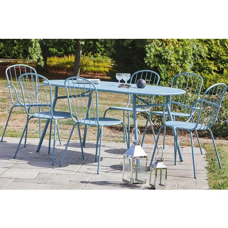 Table de jardin en métal, coloris gris bleu - Dim : 160 x 90cm -PEGANE-