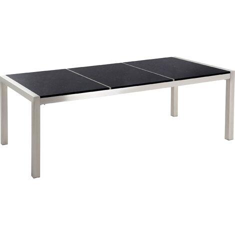 Table de jardin en plateau granit noir poli 220 cm GROSSETO ...