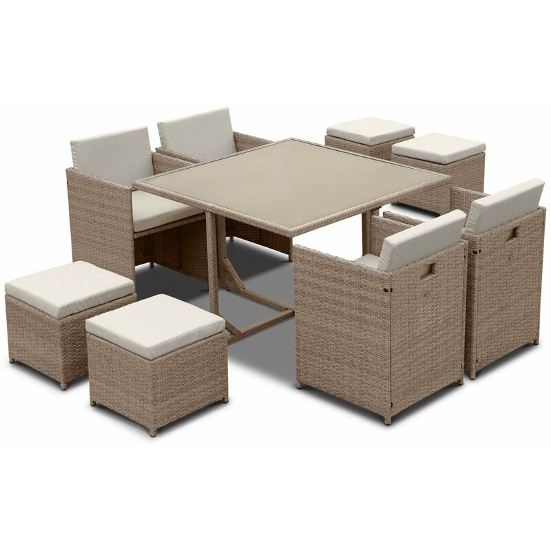 Salon de jardin 4-8 places – Vabo – table encastrable Beige / Beige