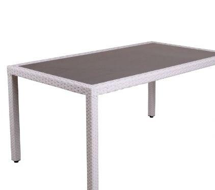 Table de jardin en résine tressée 6 couverts \