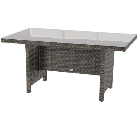 Table de jardin en résine tressée 6 Personnes Mayari - L. 144 x H. 69 cm - Gris ombre - Beige