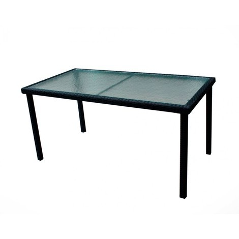 table de jardin en résine tressée et plateau verre 140 cm - 503
