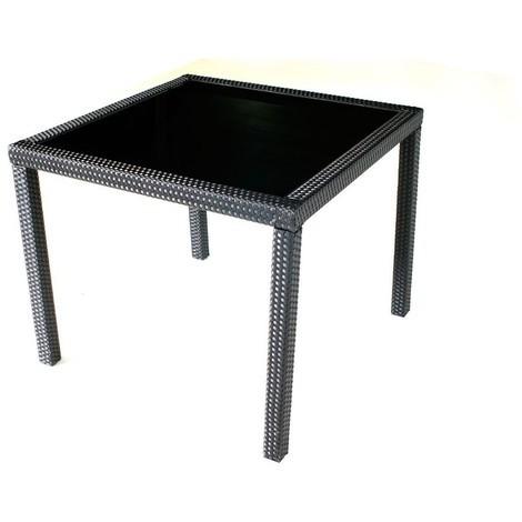 Table de jardin en résine tressée noir 80x80 cm - 94