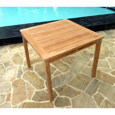 Table de jardin en teck brut, carrée 90 cm - 140