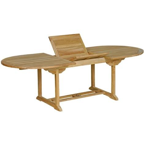 Table de jardin en teck brut : table ovale à rallonge - 48
