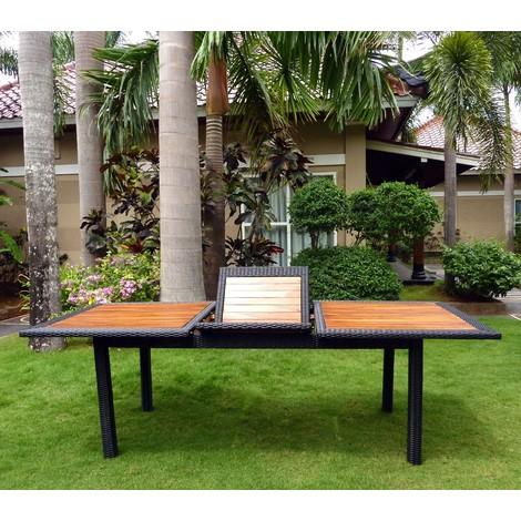 Table de jardin en teck et résine tressée - rectangle à ...