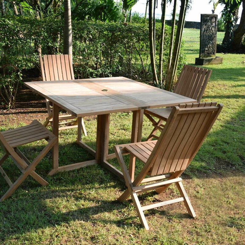 Table de jardin en Teck Pliable 120 x 120 cm - Goa