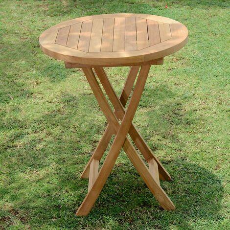 Table de Jardin en Teck Pliable ø 60 cm - Bistrot - KAJG-214