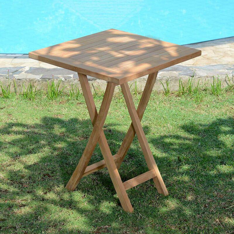Table de jardin en Teck Pliable 60 x 60 cm - Bistrot - KAJG-215